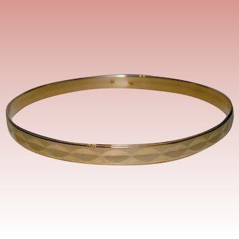 Fabulous Bangle Bracelet Faceted Design Yellow Gold Solid 14K Slip On Stacking