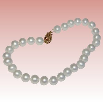 Bracelet Natural Pearl Silvery Luster Single Strand 14K Yellow Gold Filigree Clasp NOS