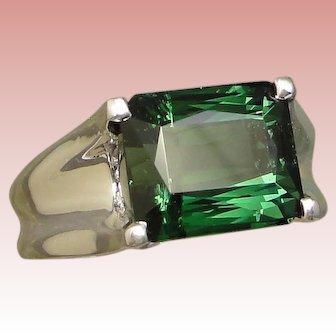 Modernist 5 Carat Green Tourmaline Diamond Ring Solid 14K White Gold