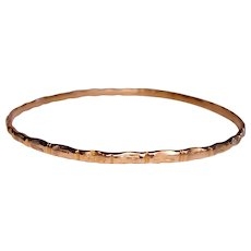 Bangle Bracelet Bamboo Solid Slip On Stacking 14K Yellow Gold
