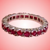 Eternity Ring Red Ruby Band 925 Sterling Silver Stacking Anniversary Wedding