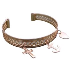 Filigree Child Charm Bracelet Bangle Cuff Faith Hope Charity Gold Filled