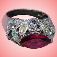 Red Spinel Bombe Ring Beaded Paisley 925 Sterling Silver