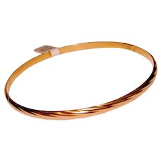 Bangle Bracelet 18K Yellow Gold Slide On Sleek Ribbed Design Turkey