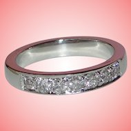 Diamond Band Solid 18K White Gold Wedding Anniversary Ring Engraved