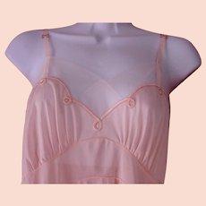 Hand Detailed Full Slip Pink Blush Nylon HANDCRAFT Art Deco Era