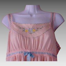 e9c0e123927 Long Nylon Night Gown Pink Gossard Artemis Maxi Length Floral Embroidery  Ribbon Trim