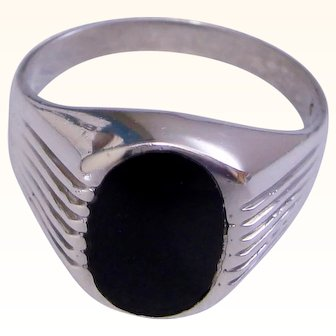 Retro Vintage Ring Black Onyx Gent's Mens 925 Sterling Silver Size 11.5 Comfort Fit Solid
