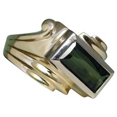 Green Tourmaline Ring Roaring Retro 10K Yellow Gold Custom Upcycle