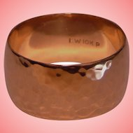 Retro Rose Gold Wedding Band Wide Hammered Solid 10K Ring