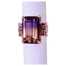 Retro Ametrine Ruby Cocktail Ring 14K Rose Gold
