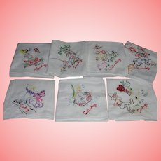 Kitchen Tea Towel SET Hillbilly Farm Theme 1950's Hand Embroidered Seven Days of Week