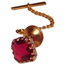 Vintage Tie Tack Red Spinel 10K Yellow Gold Edwardian