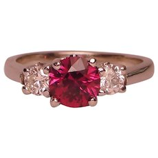 Garnet Diamond Three Stone Ring 14K White Gold