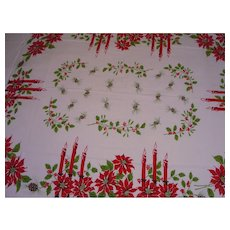 Large Christmas Tablecloth Candles Pine Cones Holly Rectangle