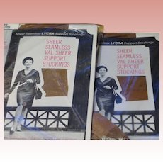 Garter Stockings Thigh High Hosiery Nude 1960's Era Val Sheer