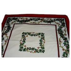 Square Christmas Tablecloth Metallic Gold Accents