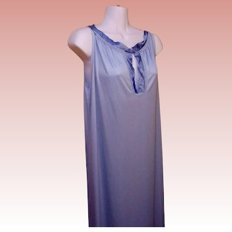 Long Nightgown Blue Nylon Gossard USA