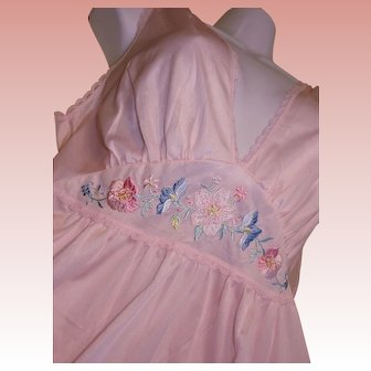 Long Nightgown Pink ANTRON Nylon Plunging Neckline