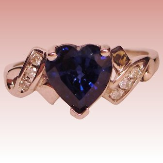 Ring Blue Sapphire Heart Diamond Solid 10K White Gold
