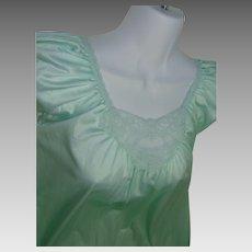 Minty Green Nightgown 100% Nylon Lacy LORRAINE