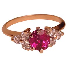 Ring Lustrous Natural Ruby Diamond Cluster Solid 14K Yellow Gold