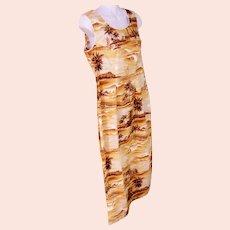 Polynesian Vintage DRESS Sunset Yellow M.D. Made in Hawaii 100% Cotton Size Medium