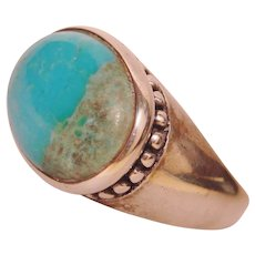 Peaceful Turquoise Bezel Beaded Ring Handmade 925 Sterling Silver Unisex