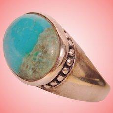 Peaceful Turquoise Bezel Beaded Ring Handmade 925 Sterling Silver Unisex