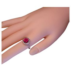 Stellar Halo Faux Red Ruby Diamond Ring 925 Sterling Silver