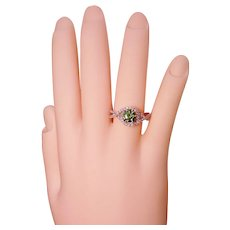 Solitaire Green Diamond Pavé  Swirl Ring Solid 14K White Gold