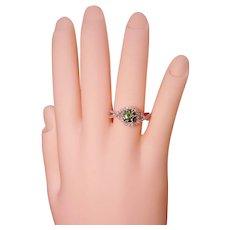 Infinity Swirl Pavé Green Diamond Solitaire Ring Solid 14K White Gold Custom Design