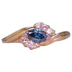 East West Blue Diamond Solitaire Ring Solid 18K Yellow Gold