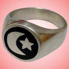 Star Crescent Moon Ring Black Enamel Solid Sterling Silver Comfort Fit Unisex