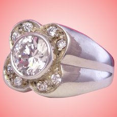 Lucky Clover Faux Diamond Ring 925 Sterling Silver