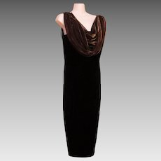Long Maxi Dress Sheath Column Vintage Jet Black Velvet Late Edition Petite Size 12P