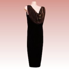 Long Maxi Dress Sheath Column Vintage Jet Black Velvet Late Edition Petite Size 12P