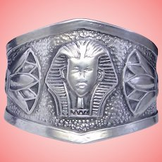 Egyptian Revival Style Cigar Band Wide Ring Solid 925 Sterling Silver Adjustible Unisex