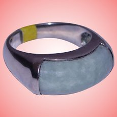 Chinese Jade Apple Green Ring Barrel Band Solid 925 Sterling Silver Unisex