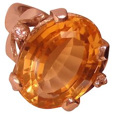 Mexico Citrine Solitaire Ring Vintage  Solid 925 Sterling Silver
