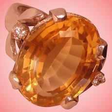Artisan Citrine Solitaire Ring Vintage Mexico Solid 925 Sterling Silver