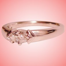 Diamond Solitaire Stack Band Flashy East West Marquise Ring Solid 14K White Gold