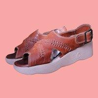 Wave Wedge Leather Platform Sandals Famolare