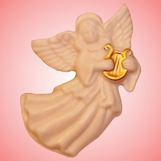 Porcelain Angel Brooch 24K Gold Trim Pin LENOX