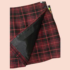 Wool Blend Wrap Mini Skirt Red Tartan Plaid New Old Stock Sz 7 USA