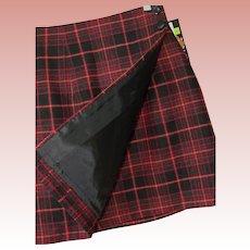 Wool Blend Wrap Mini Skirt Red Tartan Plaid New Old Stock Sz 7 USA