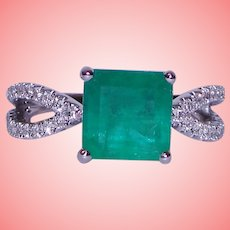 Square Colombian Emerald Diamond Ring Solid 18K White Gold