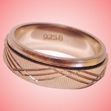 Spinner Ring Crosscut Textured Rolling Band Solid 925 Sterling Silver