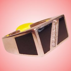 NOS Gent's Bold Black Onyx Ring Solid 925 Sterling Silver Mid Century Modern Statement