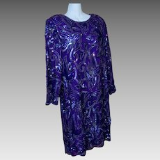 Purple 100% Silk Sequin Dress Cocktail Formal Size XL Handmade India VTG 1980's